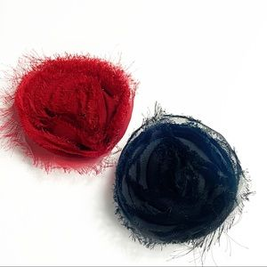 Set of 2 fabric flower hair clips Red & Black NWOT